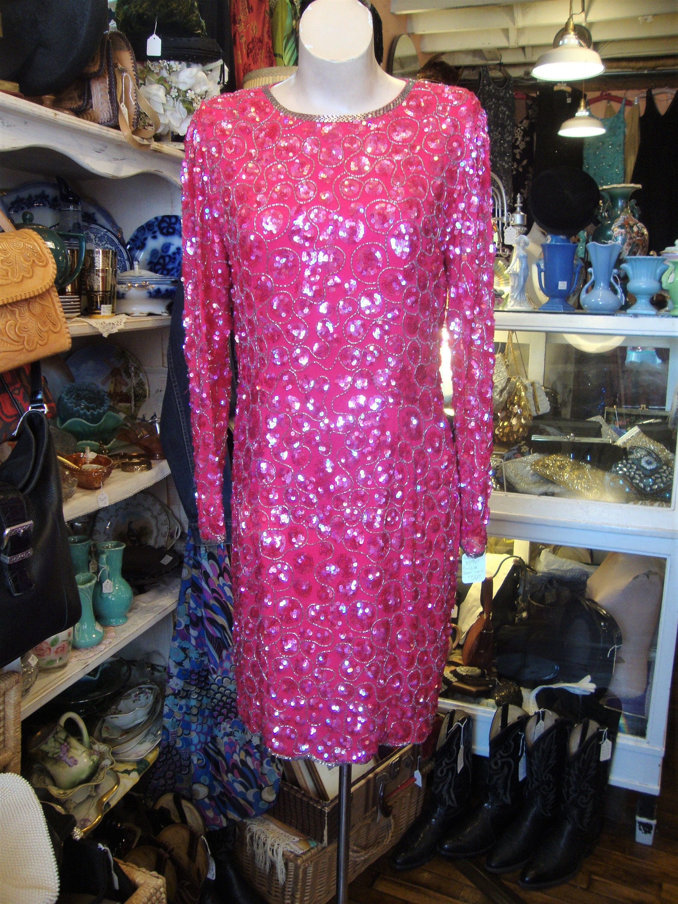 80s Dresses | Casual to Party Dresses Vintage 1980s 1990s Silk Pink Sequin  Beaded Party Holiday DressSize 12 $56.00 AT vintagedancer.com