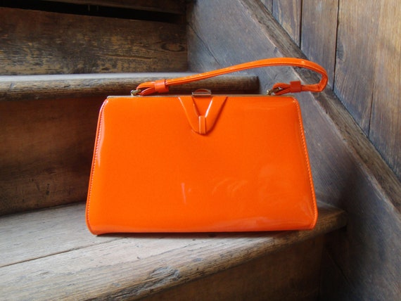 Vintage 1960's Fabulous Bright Orange Vinyl Purse