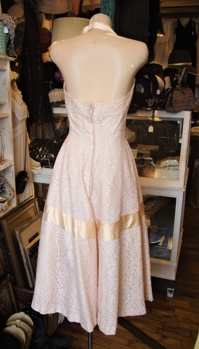 Vintage 1950/'s  50/'s Ecru Cotton Lace and Sateen Suzy Perette Halter DressExtra Small-Small