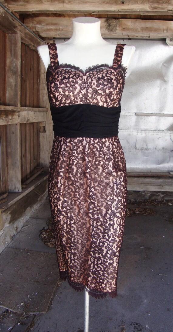 Vintage 1950's Dress * Black Lace Pin Up Wiggle Dr