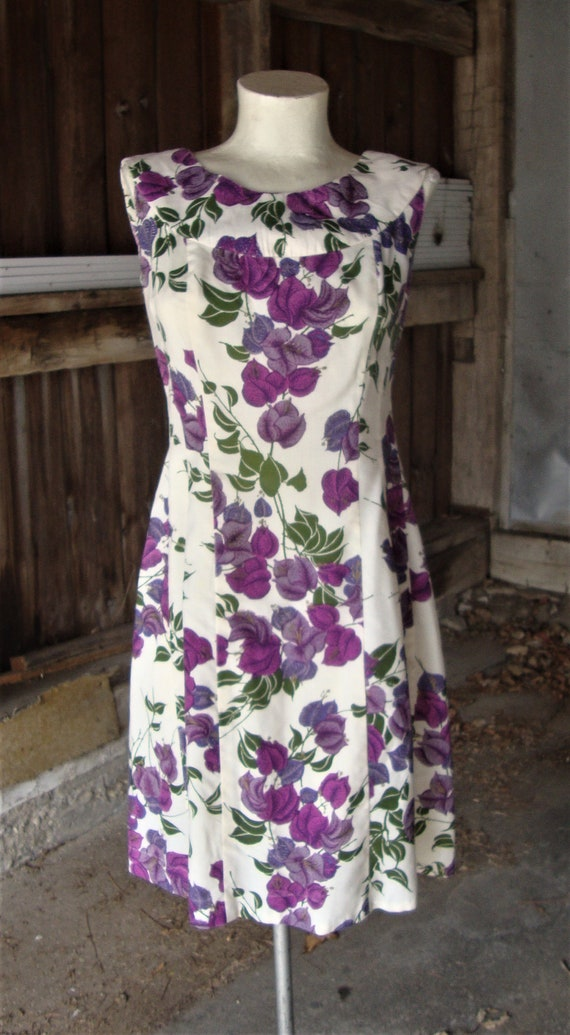 Vintage 1960's Alfred Shaheen Floral Print Dress w