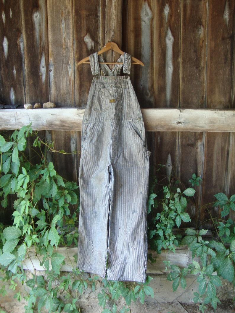 Vintage Hickory Stripe Cotton Bob OverallsSanforized34 Waist