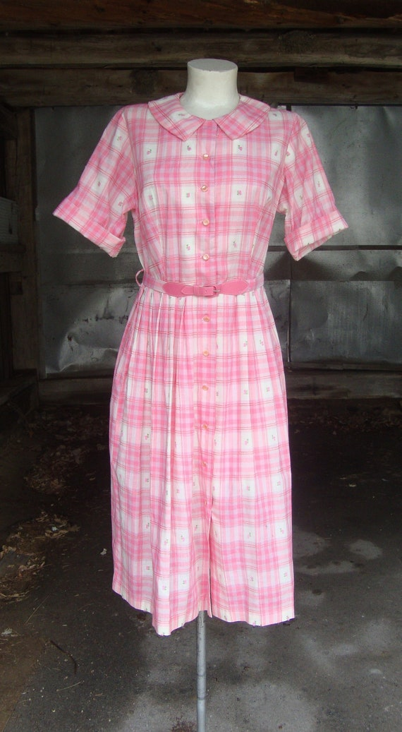 Vintage 1950's 1960's Pink and White Cotton Plaid