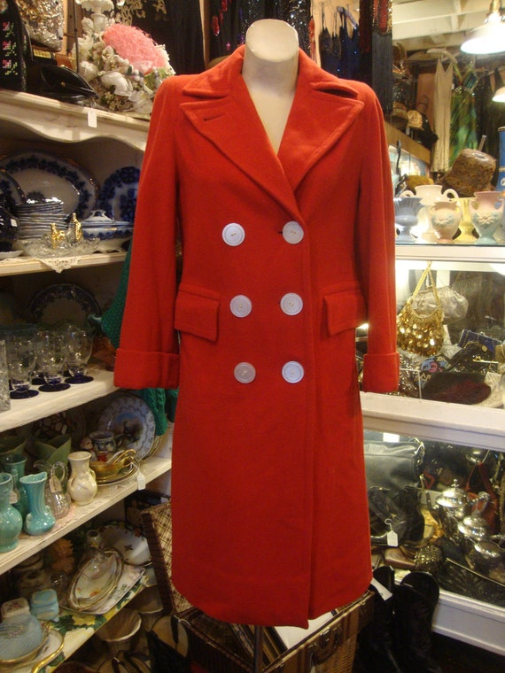 Vintage 1940's  40's Red Wool Reefer Coat/Double B