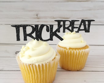 Trick Or Treat Halloween Cupcake Toppers • Black Glitter Halloween Toppers • Fall Party Cake Topper • Trick or Treat Party Supplies