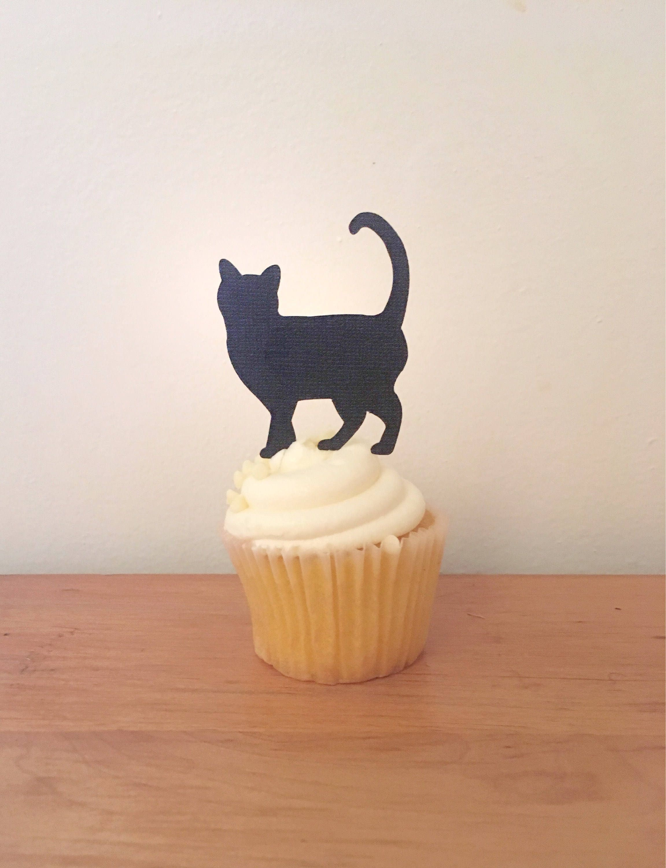 Kitty Party Decor 12 Black Cat Cupcake Toppers Meow Cat Birthday