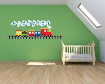 Kids Name Decal - Train Decal- Kids Wall Decal - Name Decal -  Wall Decal - Vinyl Decal