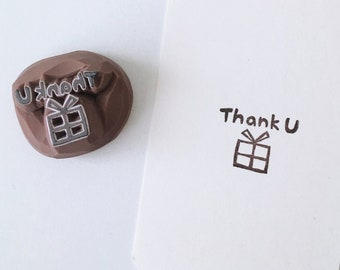 Little Thank you words and gift hand carved rubber stamp.thank you stamp.DIY scrapbooking.DIY cards