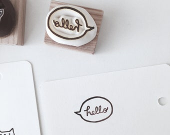 Hello hand carved rubber stamp.hello stamp.kitchen stamp.decorating cards