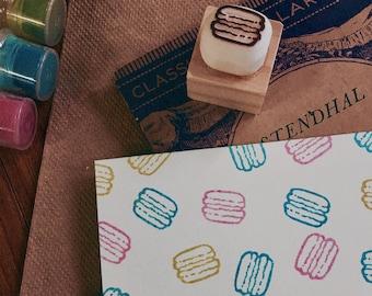 macaron rubber stamp.macaron hand carved rubber stamp.macaron hand carved stamp.macaron pattern stamp
