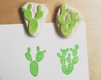 Bunny ears cactus stamp,bunny ears stamp,botanical cacti hand carved rubber stamp,desert stamp,cactus stamp set,unmounted