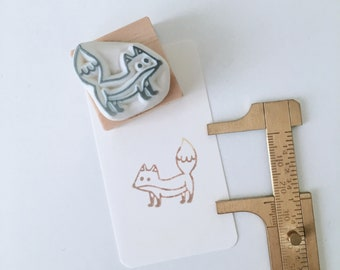 Little Fox hand carved rubber stamp.fox rubber stamp.stamp.animal stamp.zoo stamp