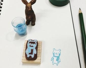 polar bear hand carved rubber stamp.polar bear rubber stamp.animals stamp.zoo stamp