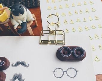 Glasses hand carved rubber stamp.glasses stamp.