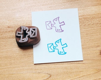 Mini bird hand carved rubber stamp.bird stamp.homing pigeon.letter