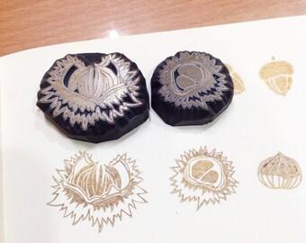 Chestnut hand carved rubber stamp.Chestnut rubber stamp. Chestnut stamp.
