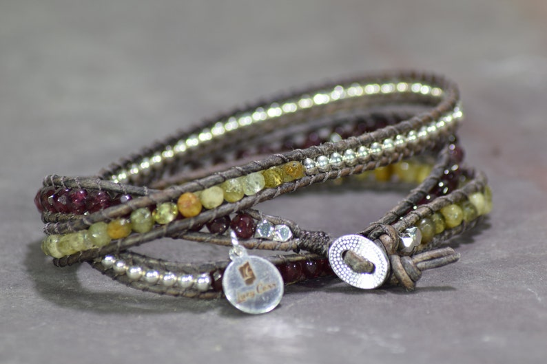 What the Heart Wants Green and Red Garnet with Sterling Silver Beaded Leather Triple Wrap Bracelet