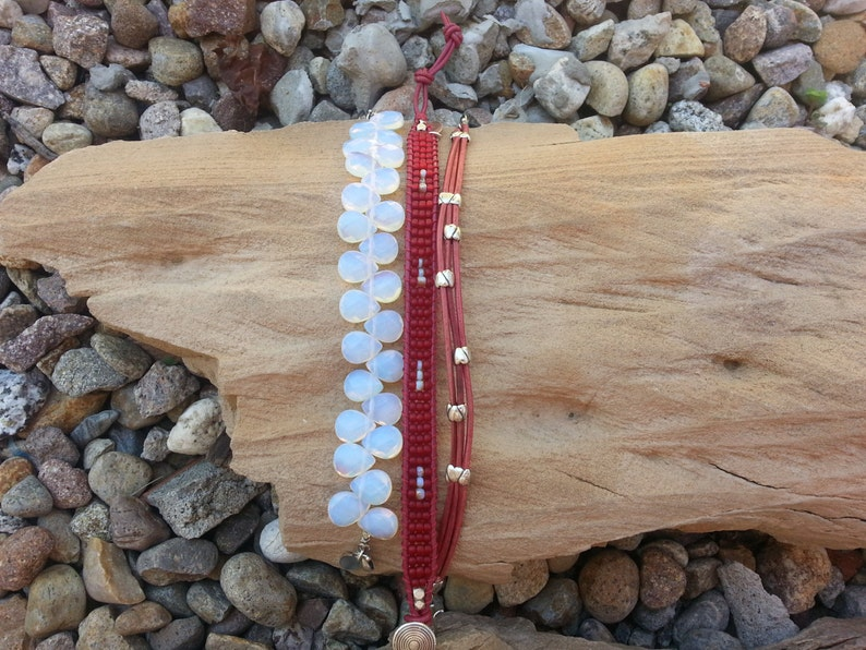 Icicles Against a Ruby Sky...Pale Blue Chalcedony Drops Ruby Glass Seed Beads Heathered Rose Leather /& SS Set of 3 Beaded Bracelets