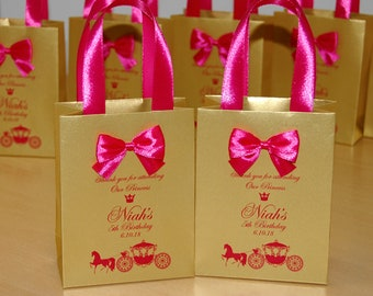 Gold Pink Birthday Gift Bags For Party Favor Guests Thank Your Attending Bag With Satin Ribbon Bow Baby Girl 5th