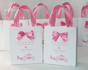 Baby Shower Party Favor Bags Elegant Welcome Bag With Bow And Your Name For Guests Thank Welcoming Our Sweet Little Princess