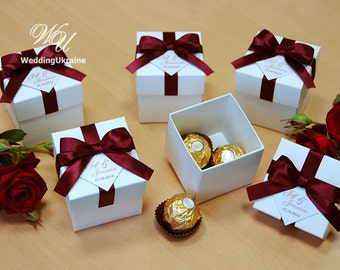 Elegant Wedding Bonbonniere - Wedding favor boxes with Burgundy satin  ribbon bow and custom personalized tag - candy boxes af6dd73a4e7d9