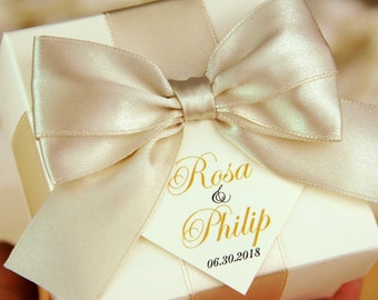 Ivory   Champagne Wedding favor boxes with satin ribbon 8468e59a15364