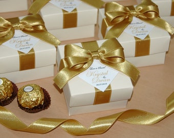 3c58de6216b4 Love is sweet Wedding favor boxes with satin ribbon