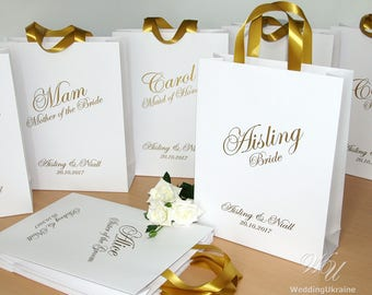 Personalized Bridesmaid's Gift bags - Wedding Party Gift Bag with satin ribbon handles and custom name, Elegant gift bags for wedding guests