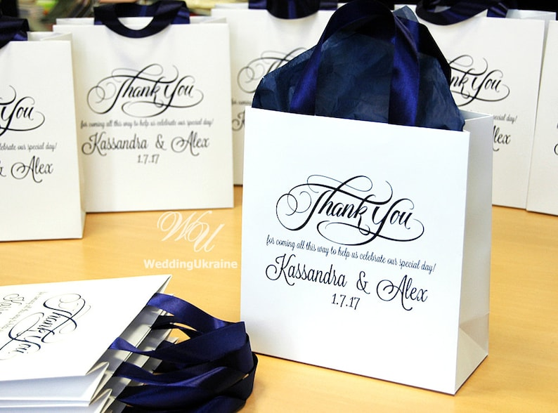 30 Wedding Welcome Bags with Navy Blue satin ribbon ...