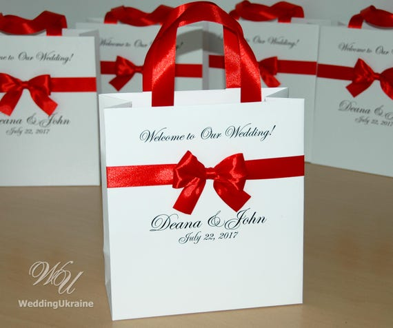 30 Elegant Wedding Welcome Bags For Guests With Satin Ribbon Etsy