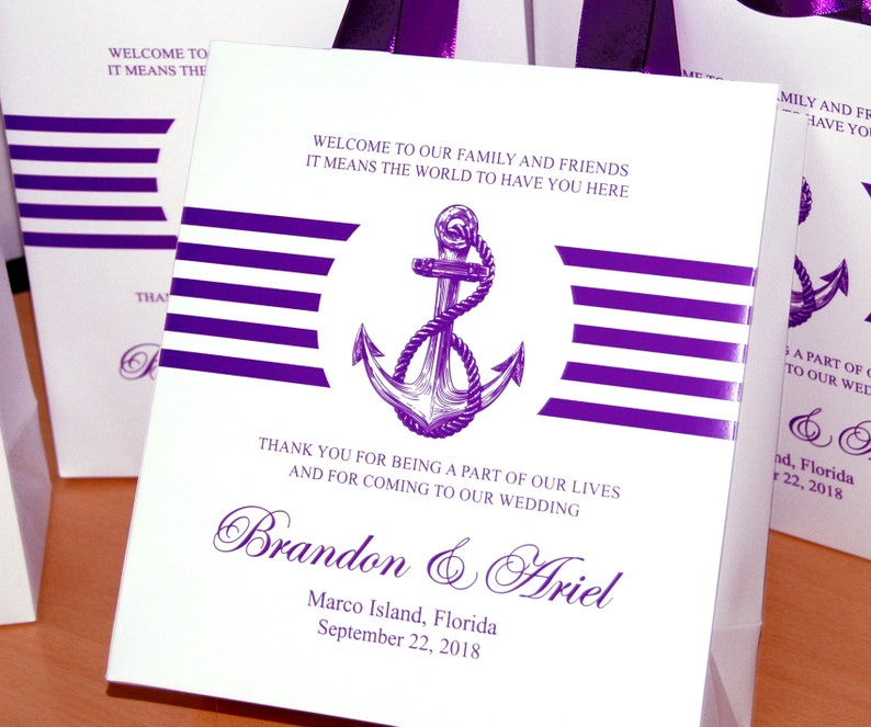 30 Purple Wedding Welcome bags with satin ribbon handles and your names Anchor Wedding Personalized Nautical Wedding Favor Bags for guests