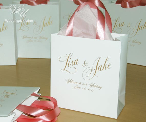30 Welcome to Our Wedding Bags for Wedding guests with Blush | Etsy