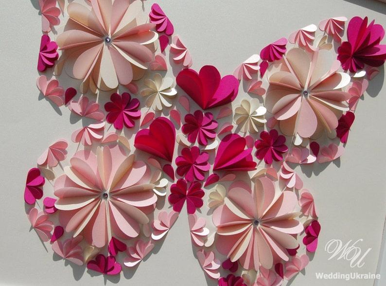Fuchsia Ivory Light Pink Wedding Guest Book Alternative Butterfly Guest Book Ideas