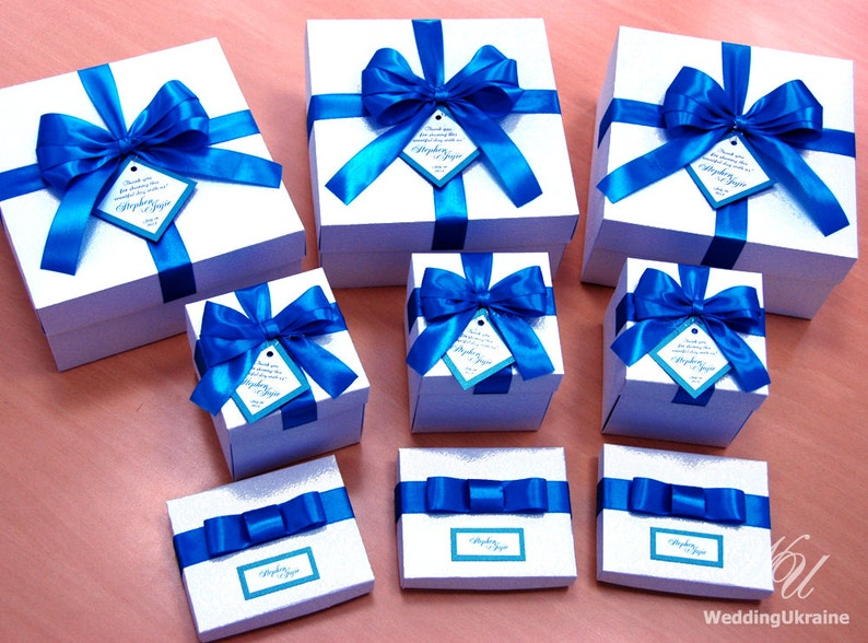 20 Personalized Wedding Favor Boxes With Teal Satin Ribbon