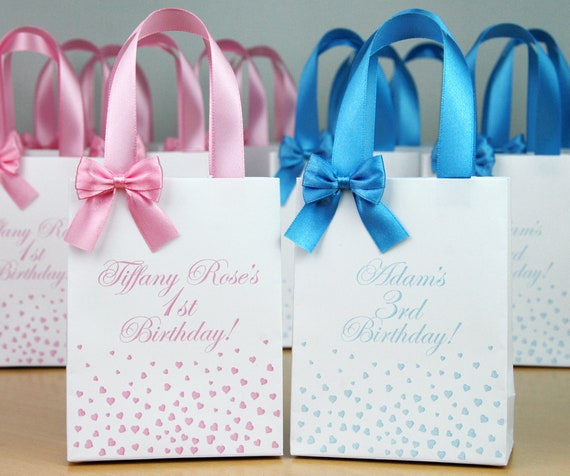 Party Favor BIRTHDAY BANNER-  Personalized Favor Bags Set of 10 Hand drawn Birthday- Thank you Bags