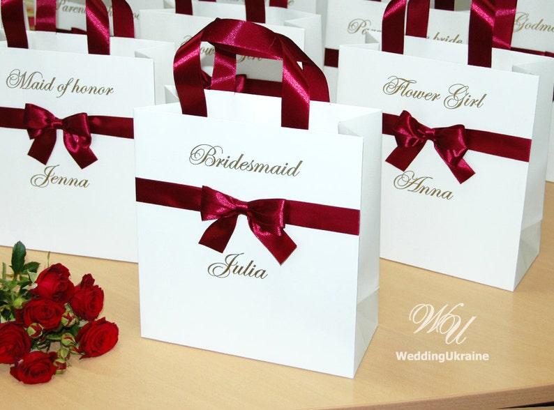 image 0 & Personalized Gift bags with satin ribbon bow u0026 custom name | Etsy
