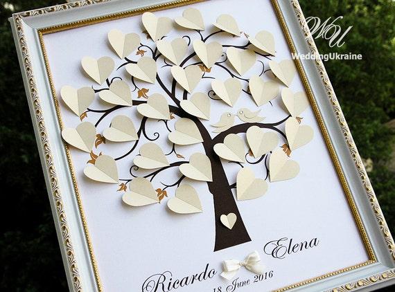 Elfenbein Hochzeit Baum Gastebuch Ideen Liebe Vogel 3d Etsy
