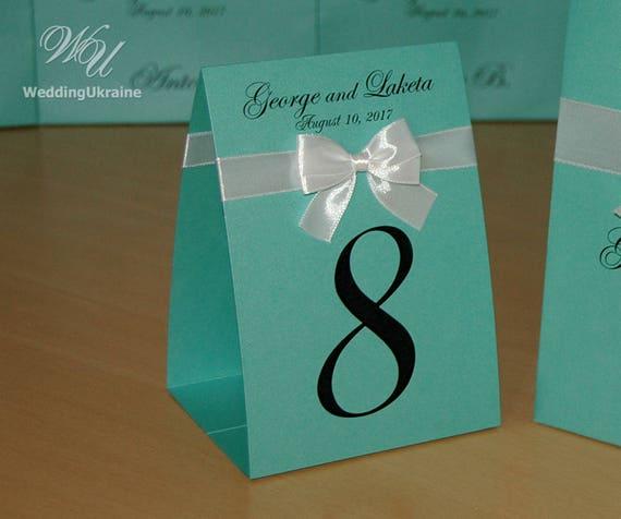 Numéros de table de mariage avec noeud de ruban de satin et vos noms - numéros de Table tentes tentes Table numéro signes, Doubled-Sided cartes de Table, à la menthe