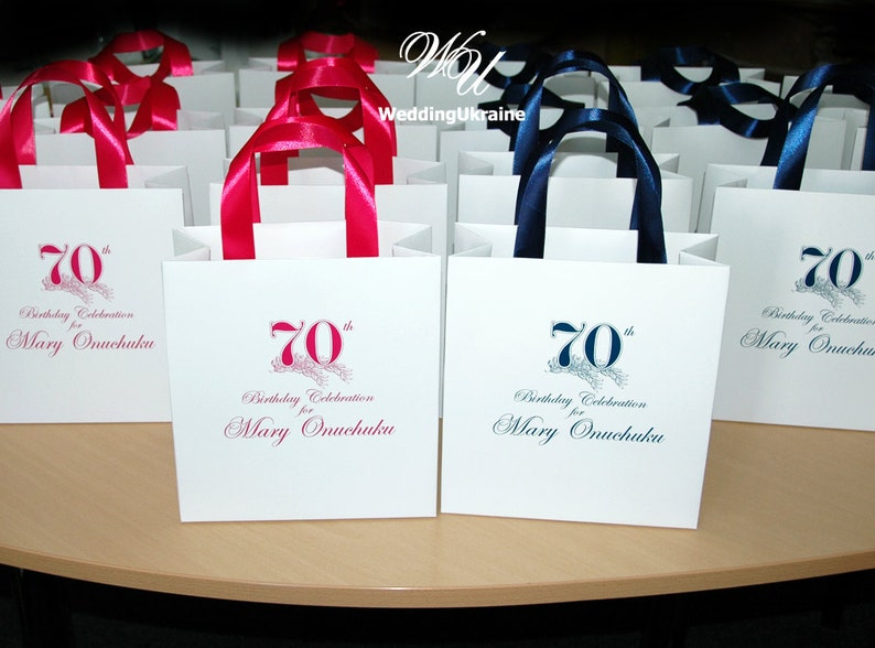 50 Birthday Gift Bags With Satin Ribbon And Name