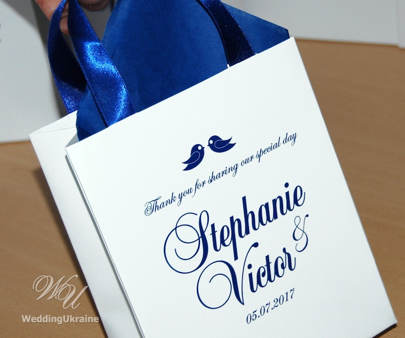 Thank you for sharing our special day gift bags for guests 35 Wedding Welcome Bags with Cobalt Blue satin ribbon names /& love birds