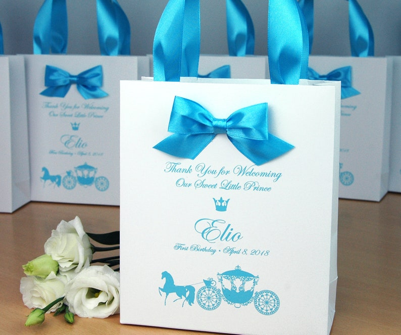 1st Birthday Gift Bags For Favors Personalized Thank Your Bag With Light Blue Satin Ribbon Handles Bow Baby Boy First Birthday Party Favor
