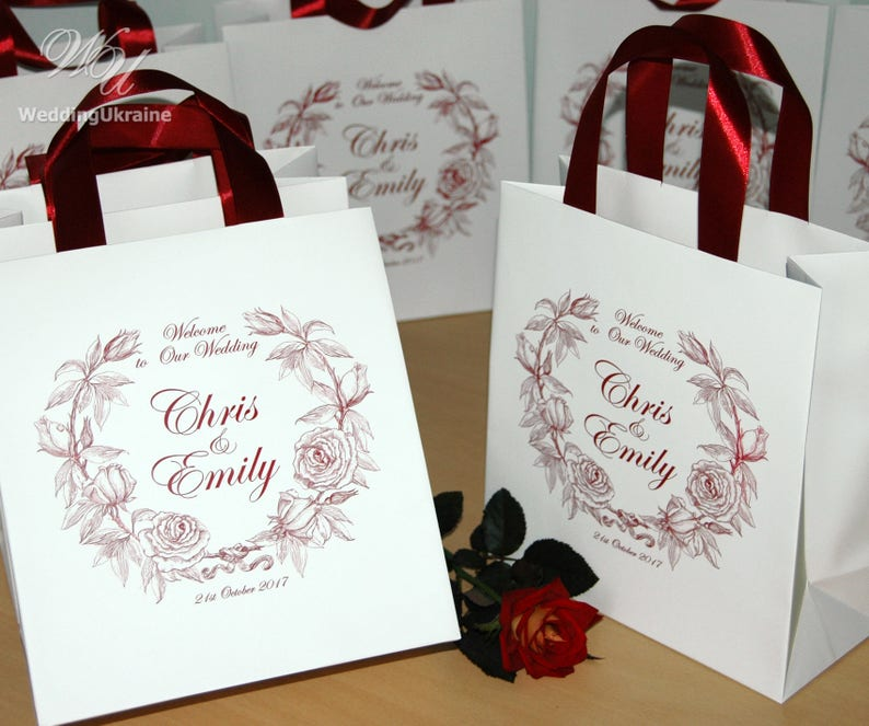 40 Wedding Welcome Bags with satin ribbon handles and your names Elegant Burgundy Personalized Wedding Gifts and Favors for guests