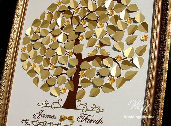 Goldene Hochzeit Baum Guest Book Hochzeitsideen Liebe Vögel 3d Gästebuch Baum Moderne Alternative Zu Traditionellen Gästebücher