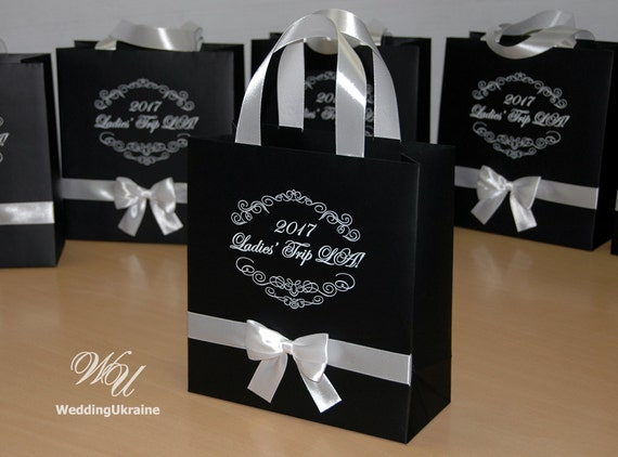 20 Elegant Gift Bags With Satin Ribbon Handles Custom Etsy
