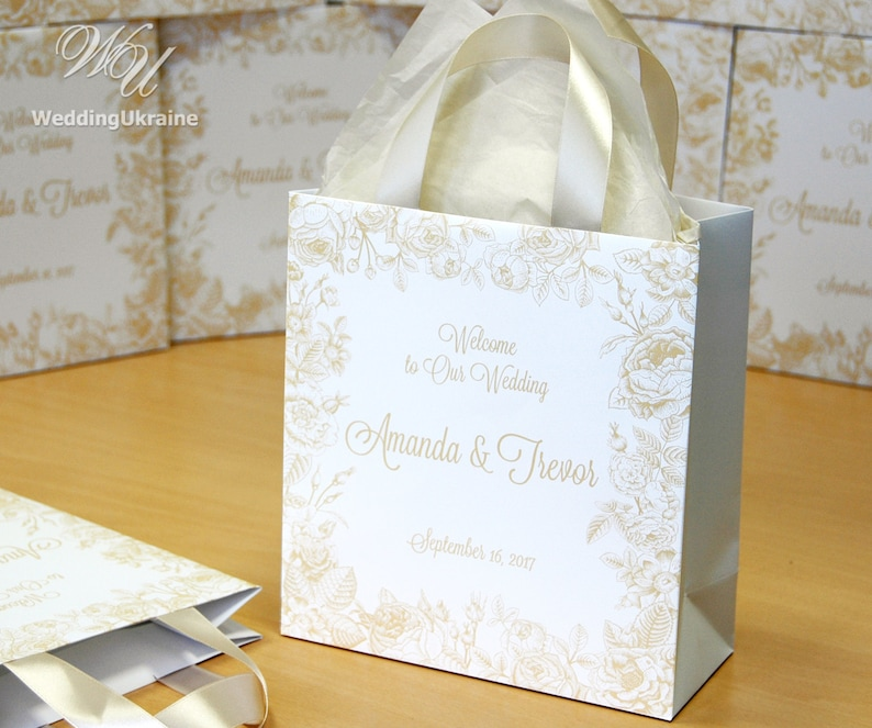 Wedding Welcome Bags.50 Champagne Wedding Welcome Bags For Guests With Satin Ribbon Roses And Your Names Elegant Personalized Wedding Gifts And Favors