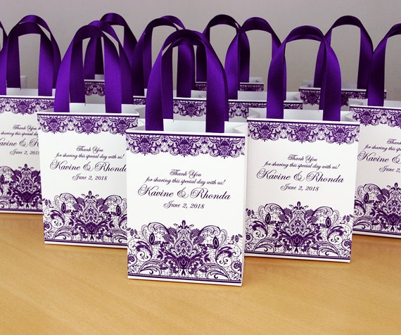 elegant shoes crazy price special section Purple Wedding Gift bags for small souvenirs Personalized Bag with satin  ribbon handles, print lace and your names, Wedding favor for guests