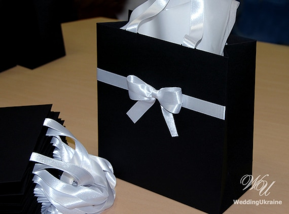 Elegant Black And White Gift Bags With Satin Ribbon And Bow Etsy