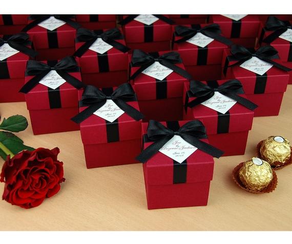 Burgundy & Black Wedding Bonbonniere Wedding favor boxes with   Etsy