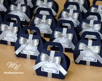 Navy blue Wedding bonbonniere - custom personalized Wedding Favor Candy boxe with Silver satin bow and tag - Navy & Silver gifts for guests