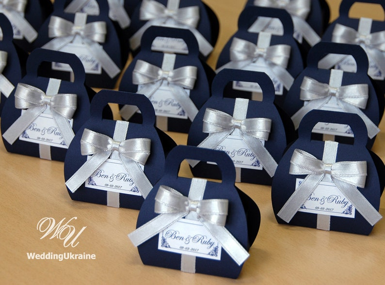 Navy Blue Wedding.Navy Blue Wedding Bonbonniere Custom Personalized Wedding Favor Candy Boxe With Silver Satin Bow And Tag Navy Silver Gifts For Guests